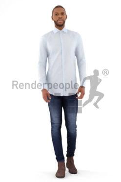 3d people busniess, black 3d man walking