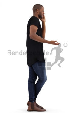 3d people casual, black 3d man talking on the phone