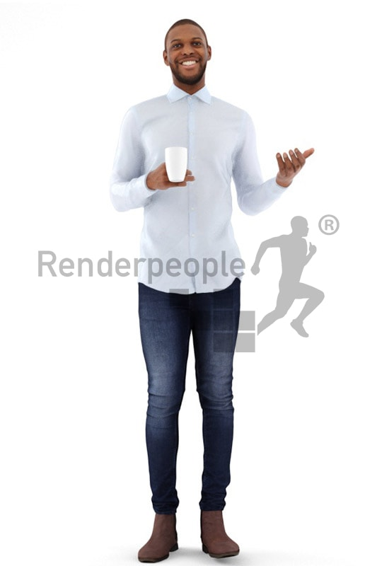 3d people business, black 3d man holding a cup and talking
