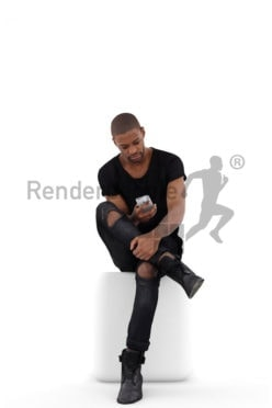 3d people casual, black 3d man sitting typing on his phone