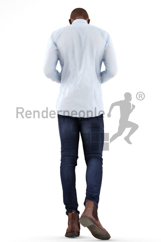 3d people business, black 3d man walking typing on his phone