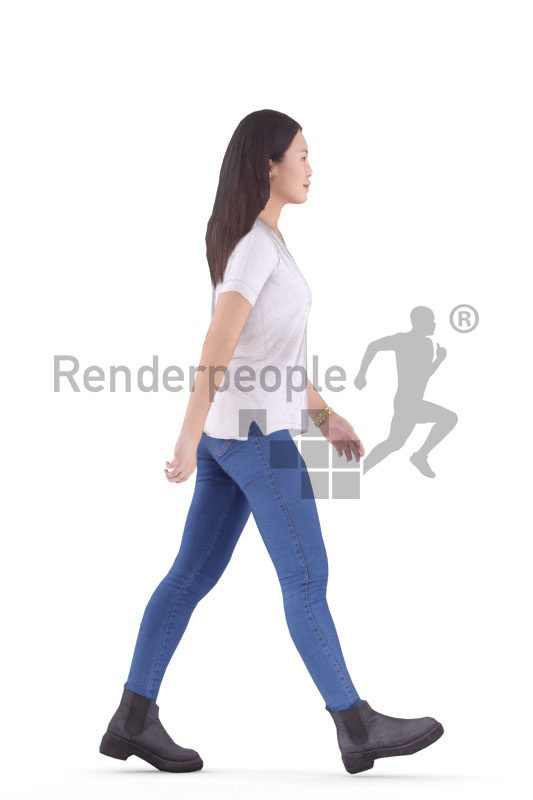 Animated 3D People model for visualization – asian woman in daily look, walking
