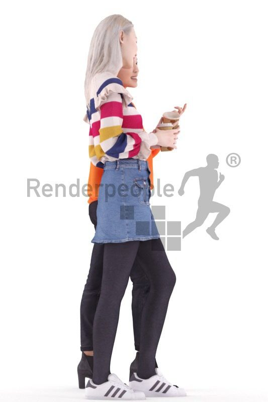 3d people casual, asian 3d group women walking and talking