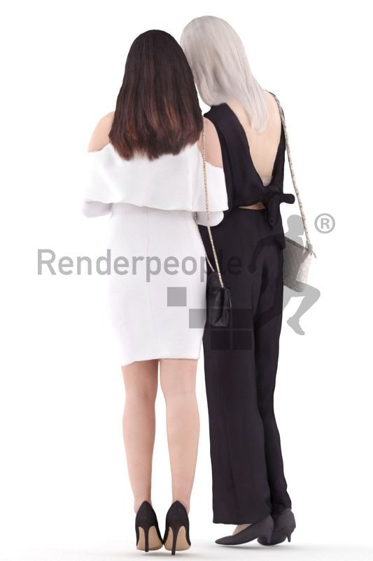 3d people event, asian 3d group women standing and looking on smartphone