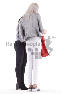 3d people casual, asian 3d group women standing and shopping