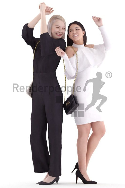 3d people evening, white and asian 3d women dancing