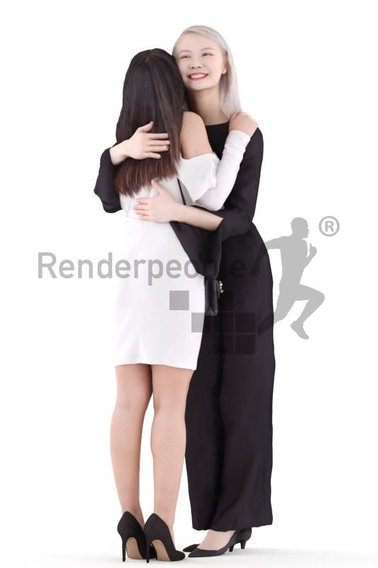 3d people casual, asian 3d group women holding coffee cup