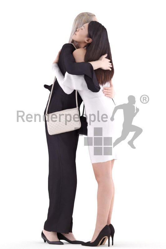3d people event, asian 3d group women standing and hugging