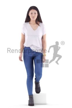 3d people casual, asian 3d woman standing drinking