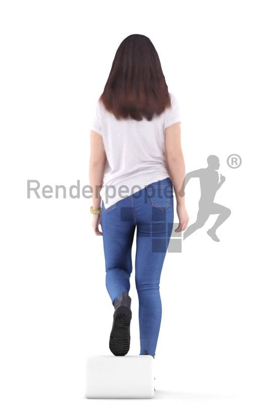 3d people casual, asian 3d woman walking stairs