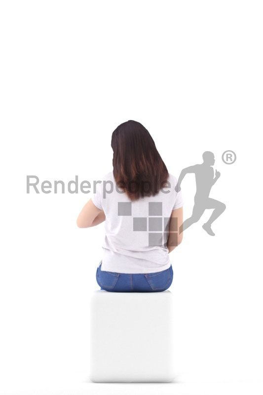 3d people casual, asian 3d woman sitting and looking on watch