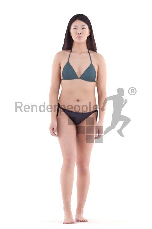 3d people swimwear, asian 3d woman walking
