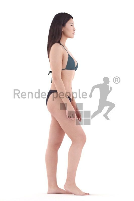3d people swimwear, asian 3d woman walking