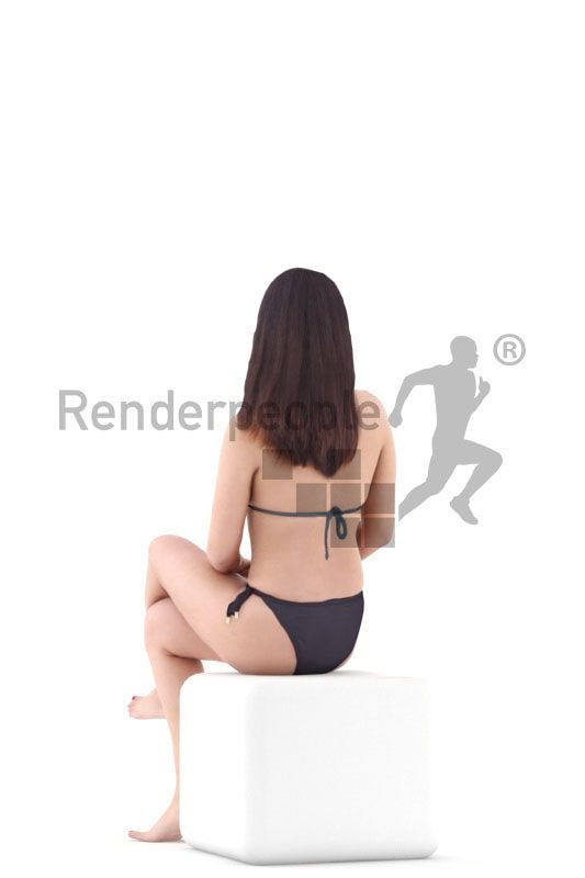 3d people swimwear, asian 3d woman sitting and talking