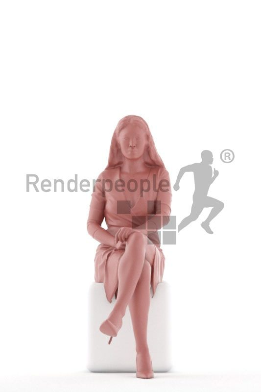 3d people event, asian 3d woman sitting