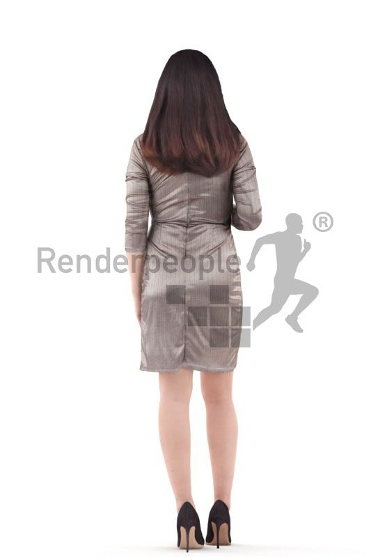 3d people event, asian 3d woman standing and talking