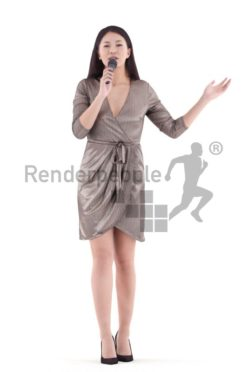 3d people event, asian 3d woman standing and singing