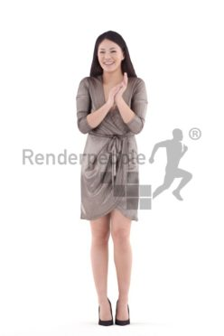 3d people event, asian 3d woman standing and clapping