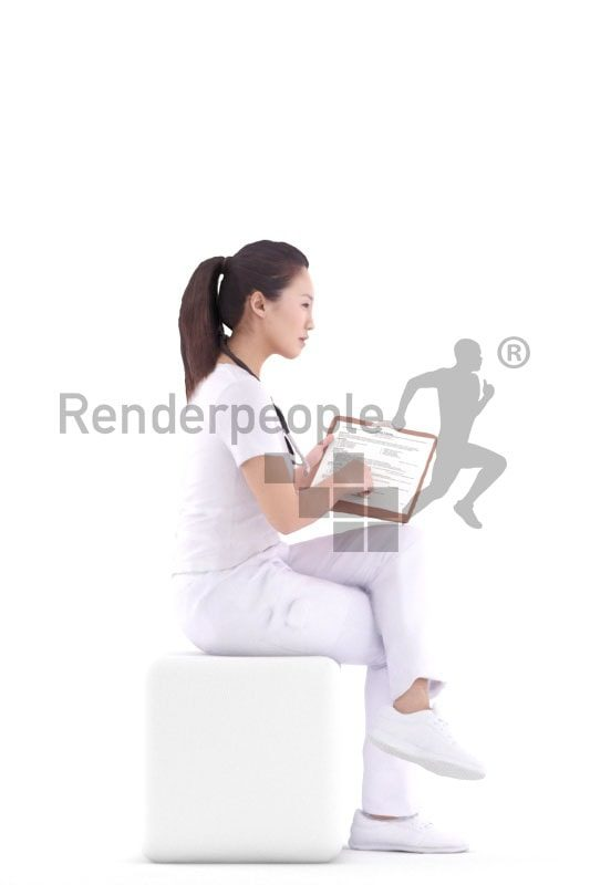 3d people healthcare, asian 3d woman doctor sitting and holding clipboard