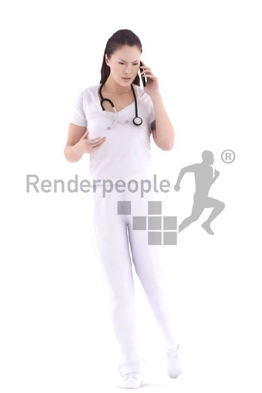 3d people healthcare, asian 3d woman doctor walking and calling