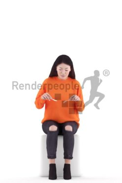 3d people casual, asian 3d woman doctor walking and calling