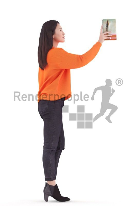 3d people casual, asian 3d woman standing and holding book