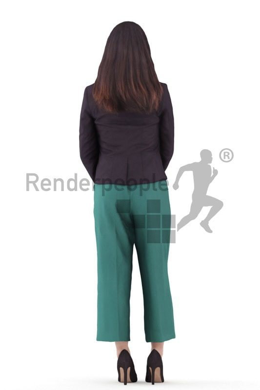 3d people business, asian 3d woman standing