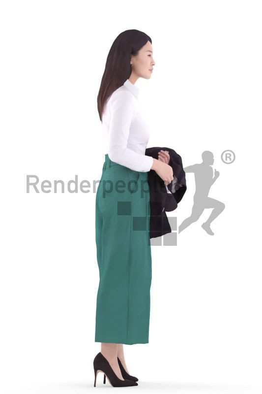 3d people business, asian 3d woman standing and holding jacket