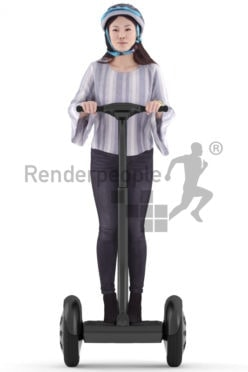 3D People model for 3ds Max and Maya – asian woman in smart casual look, standing on a e-scooter