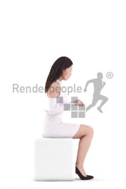 3d people event, asian 3d woman sitting and eating