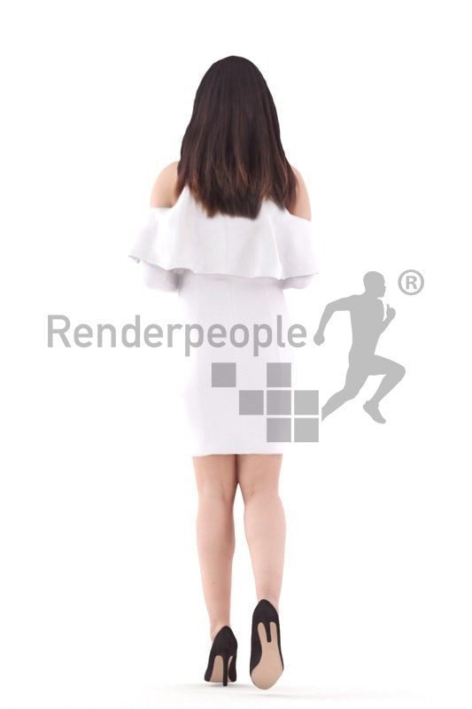 3D People model for 3ds Max and Cinema 4D – asian woman in event dress, walking and holding a glass of champagne