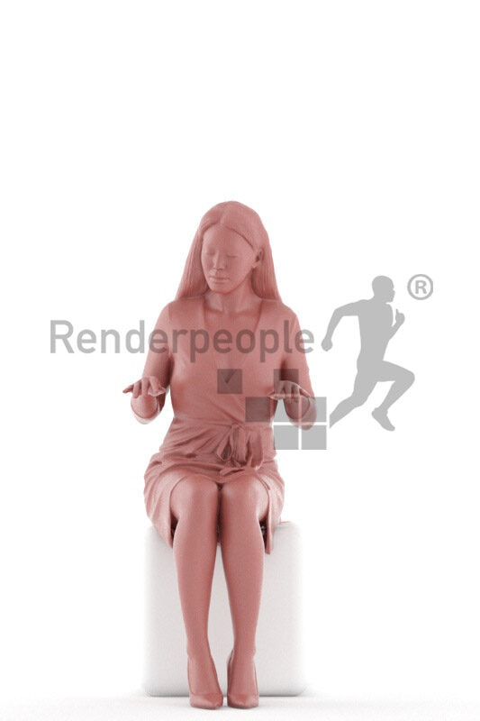 Posed 3D People model for visualization – asian woman in event dress, sitting and playing piano