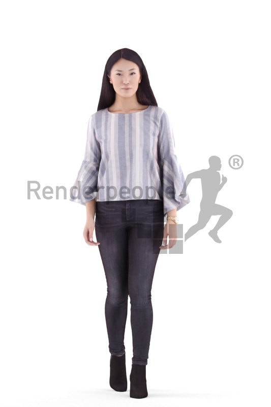 3d people casual, asian 3d woman walking and climbing stairs