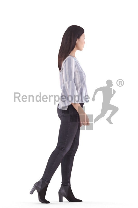 3d people casual, asian 3d man walking and climbing stairs
