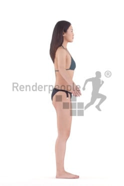Rigged and retopologized 3D People model – asian woman in swimmwear
