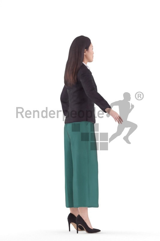 Rigged human 3D model by Renderpeople, asian woman, smart casual/ business