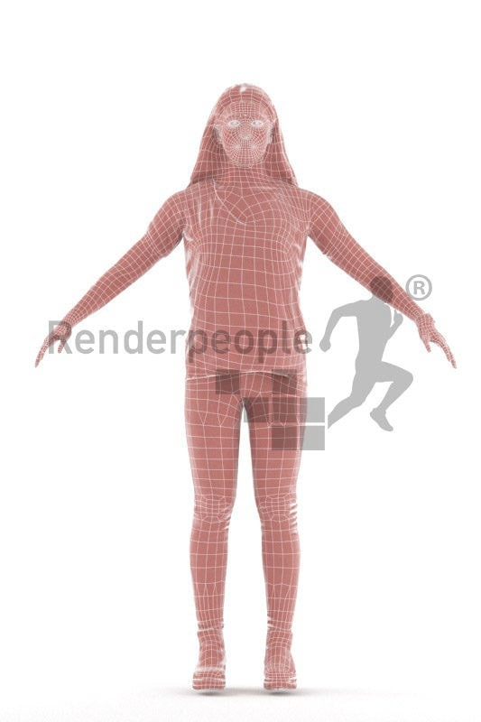 Rigged 3D People model by Renderpeople - Asian woman in daily outfit