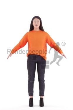 Rigged human 3D model by Renderpeople, asian woman, casual