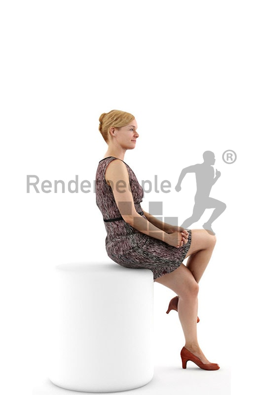 3d people event, white 3d woman sitting wearing a dress
