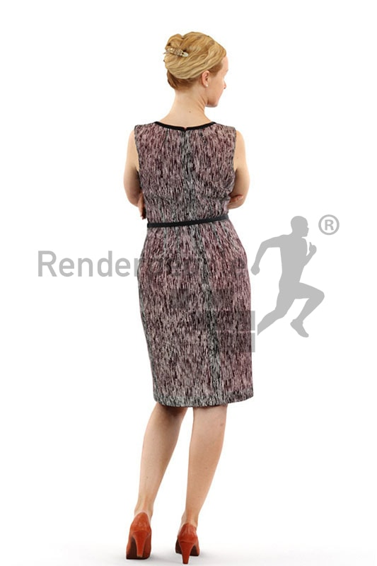 3d people event, white 3d woman wearing a dress