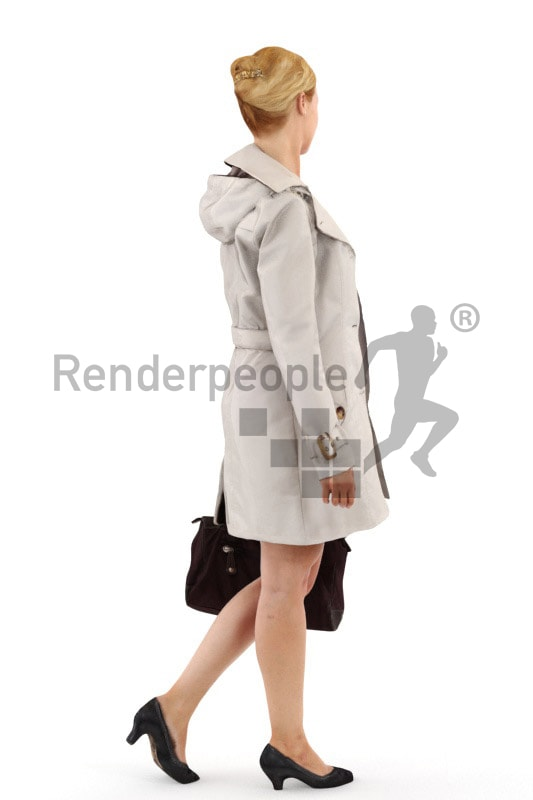 3d people shopping, white 3d woman with a purse