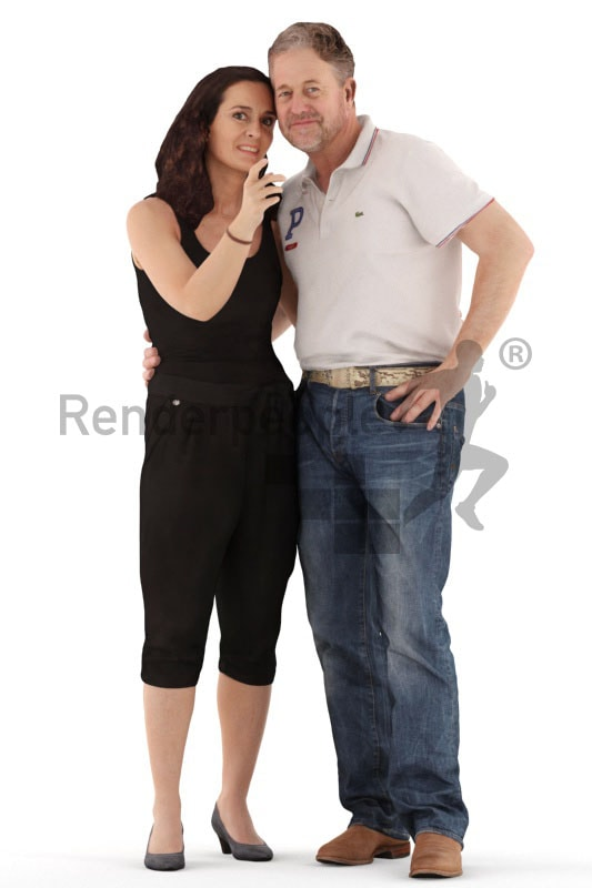 3d people casual, white 3d couple standing