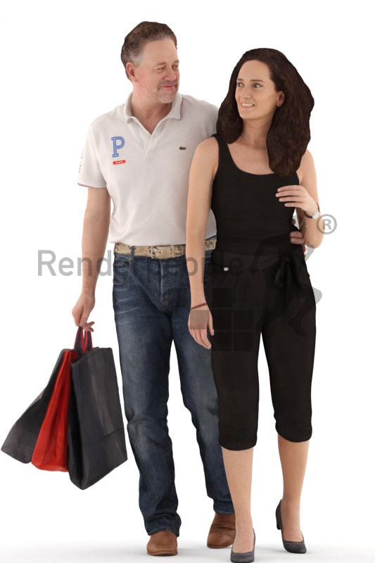 3d people casual, white 3d couple shopping together