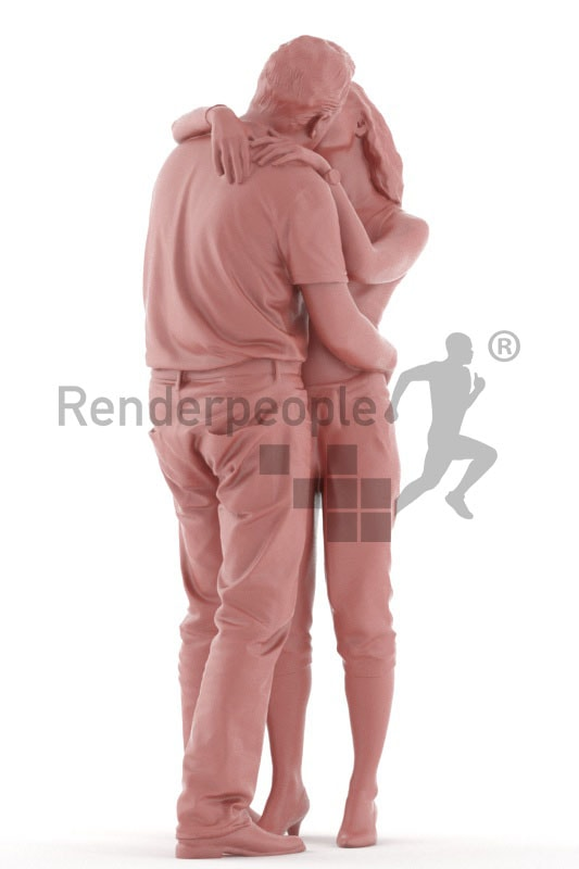 3d people casual, white 3d couple kissing
