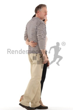 3d people casual, white 3d couple walking arm in arm