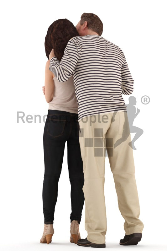 3d people casual, white 3d couple standing arm in arm