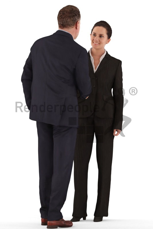 d people business, white 3d couple standing shaking hands