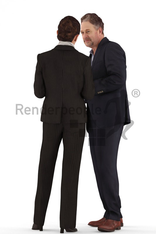 d people business, white 3d couple standing drinking coffee and talking