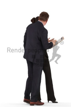 d people business, white 3d couple standing discussing while holding a clipboard