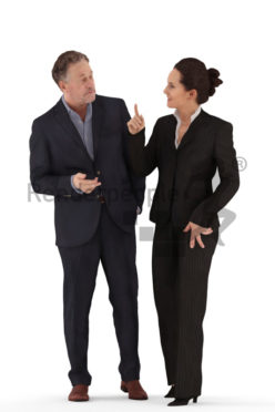 3d people business, white 3d couple standing discussing